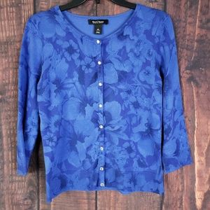 Blue Floral Cardigan Size Medium